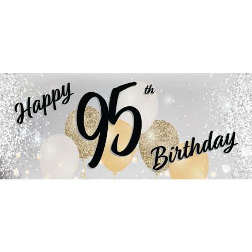 Happy 95th Birthday Silver PVC Party Sign Decoration 60cm x 25cm