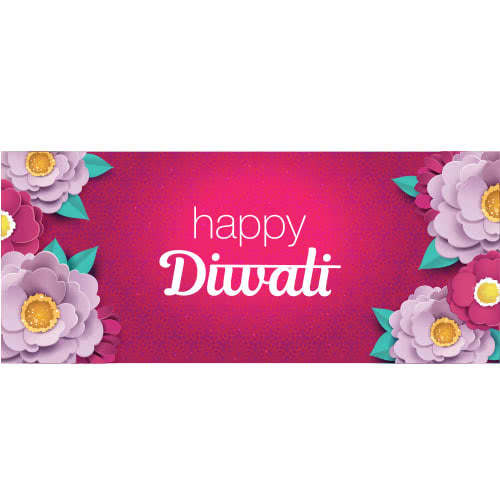 Happy Diwali Lilac And Pink Flowers PVC Party Sign Decoration 60cm x 25cm