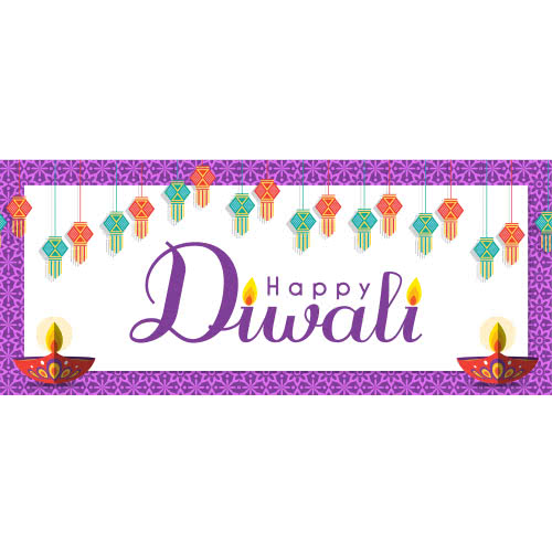 Happy Diwali Lanterns And Candles PVC Party Sign Decoration 60cm x 25cm