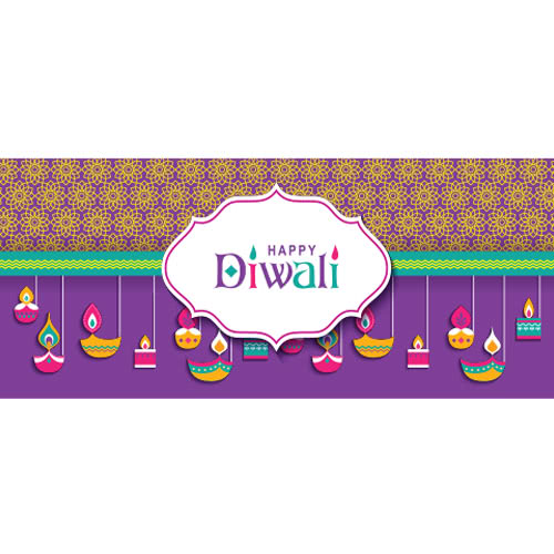 Happy Diwali Flowers And Candles PVC Party Sign Decoration 60cm x 25cm
