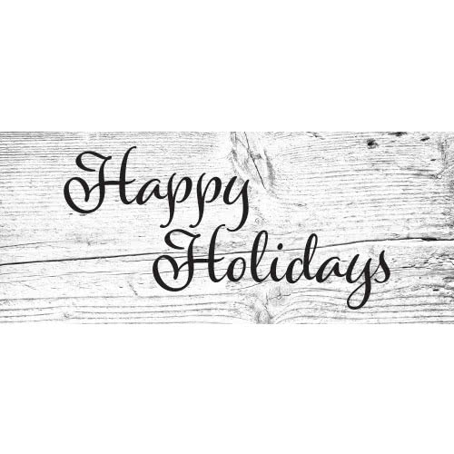 Happy Holidays Wooden Effect Christmas PVC Party Sign Decoration 60cm x 25cm