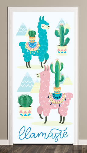 Llama Cactus Door Cover PVC Party Sign Decoration 66cm x 152cm