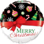 Merry Christmas Red Bow Round Foil Helium Qualatex Balloon 46cm / 18Inch
