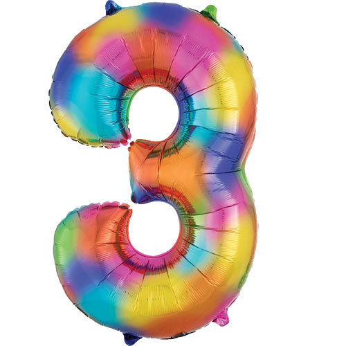 Number 3 Rainbow Splash Supershape Helium Foil Balloon 86cm / 34Inch Product Image