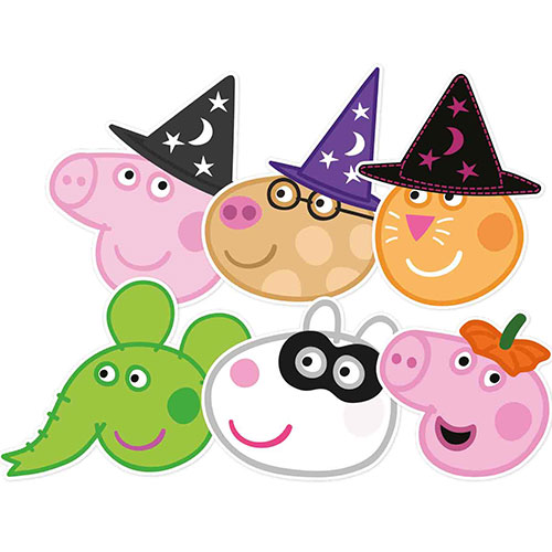 Peppa Pig and Friends Halloween Cardboard Face Masks - Pack of 6 Product Image