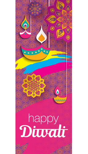 Happy Diwali Candles And Flowers Wall Poster PVC Party Sign Decoration 70cm x 25cm