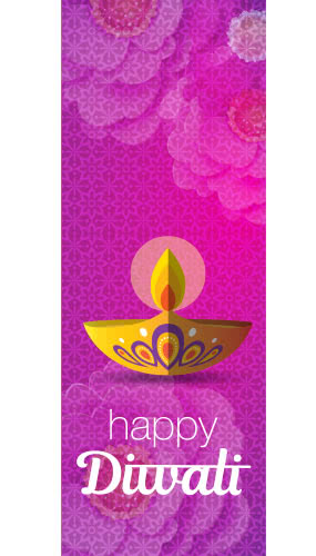 Happy Diwali Magenta Wall Poster PVC Party Sign Decoration 70cm x 25cm