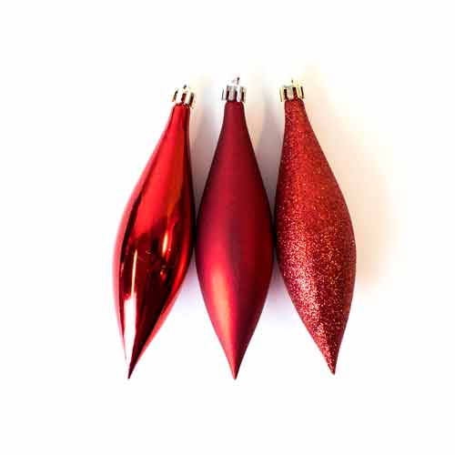 Red Drop Baubles Christmas Tree Hanging Decorations - Pack of 6