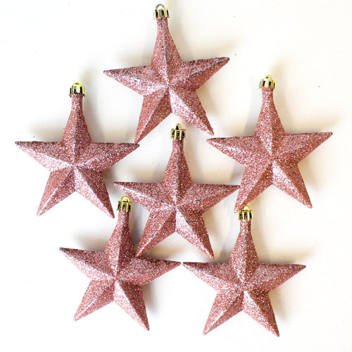 Rose Gold Glitter Stars Baubles Christmas Tree Hanging Decorations - Pack of 6