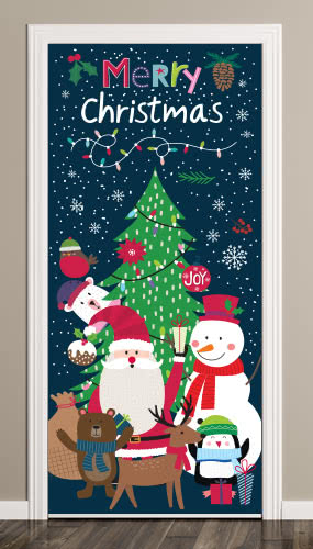 Santa And Friends Christmas Door Cover Pvc Party Sign