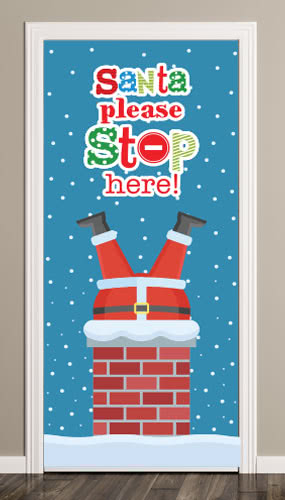 Santa Please Stop Here Chimney Christmas Door Cover PVC Party Sign Decoration 66cm x 152cm