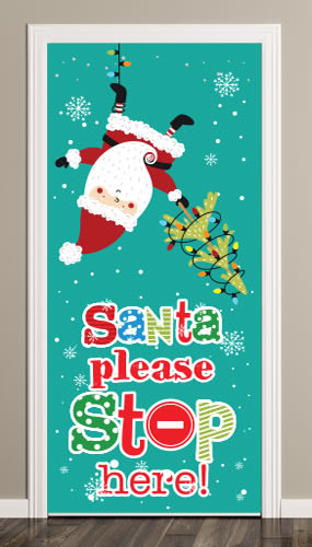Santa Please Stop Here Christmas Lights Door Cover PVC Party Sign Decoration 66cm x 152cm