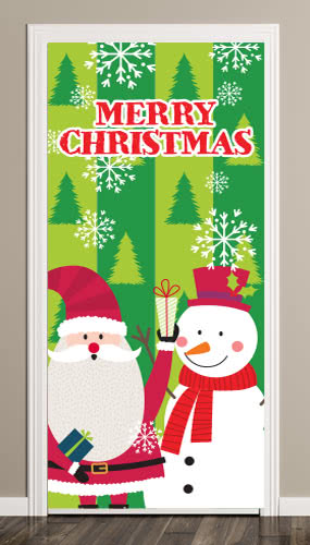 Santa And Snowman Christmas Door Cover PVC Party Sign Decoration 66cm x 152cm