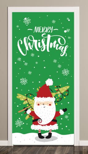 Santa With Tree Christmas Door Cover PVC Party Sign Decoration 66cm x 152cm
