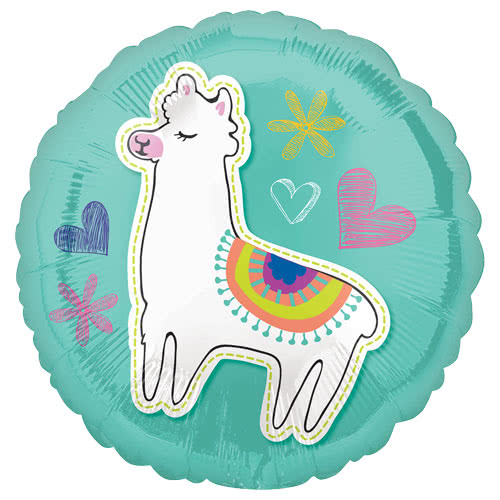 Selfie Celebration Llama Round Foil Helium Balloon 43cm / 17Inch Product Image