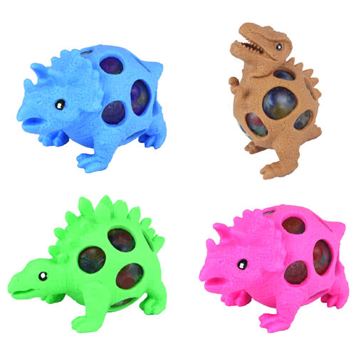 Stress Relief Squishy Squeeze Dinosaur Toy With Beads 9cm Product Image