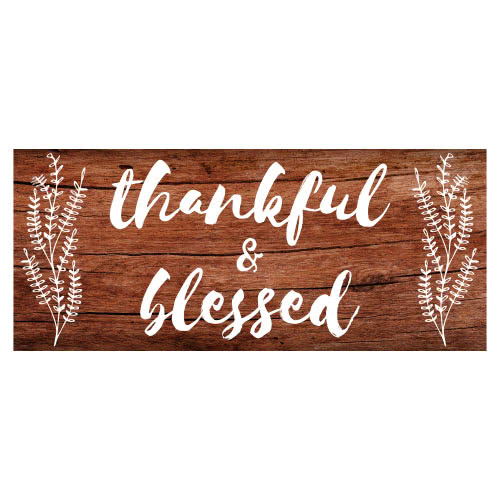 Thankful And Blessed Thanksgiving Day Wooden Effect PVC Party Sign Decoration 60cm x 25cm