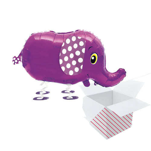 Walking Pet Elephant Foil Helium Balloon Inflated In A Box