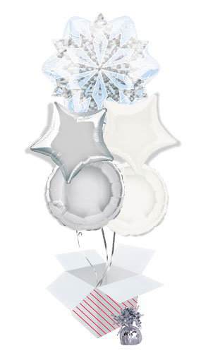 white-christmas-snowflake-balloon-bouquet-5-inflated-balloons-in-a-box-product-image
