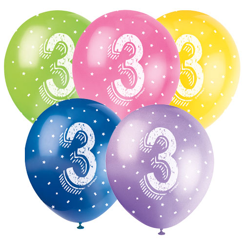 Age 3 Assorted Biodegradable Latex Balloons 30cm / 12Inch - Pack of 5