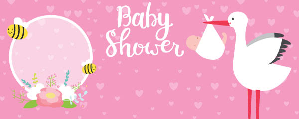Baby Shower Pink Design Medium Personalised Banner - 6ft x 2.25ft