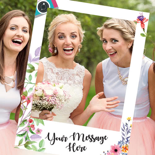 Floral Wedding Personalised Selfie Frame Photo Prop Product Gallery Image