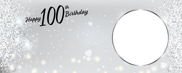 Happy 100th Birthday Milestone Light Design Small Personalised Banner - 4ft x 2ft