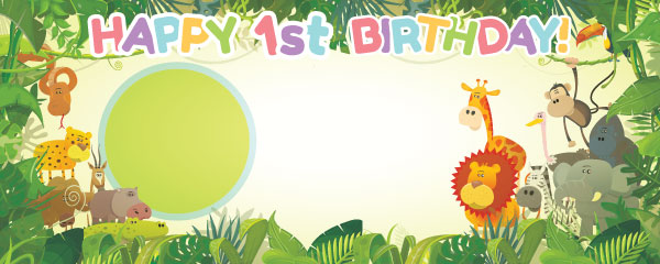 Happy 1st Birthday Jungle Design Large Personalised Banner - 10ft x 4ft