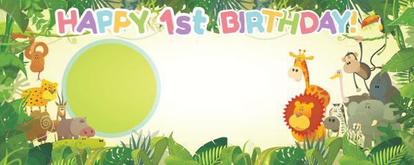 Happy 1st Birthday Jungle Design Medium Personalised Banner - 6ft x 2.25ft