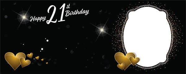 Happy 21st Birthday Milestone Dark Design Small Personalised Banner - 4ft x 2ft