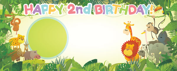 Happy 2nd Birthday Jungle Design Medium Personalised Banner - 6ft x 2.25ft