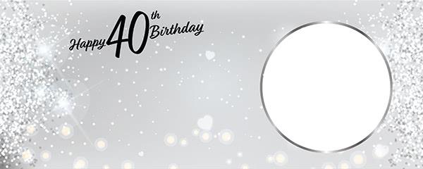 Happy 40th Birthday Milestone Light Design Small Personalised Banner - 4ft x 2ft