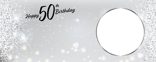 Happy 50th Birthday Milestone Light Design Small Personalised Banner - 4ft x 2ft