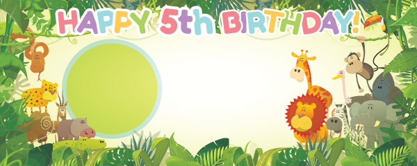 Happy 5th Birthday Jungle Design Small Personalised Banner - 4ft x 2ft