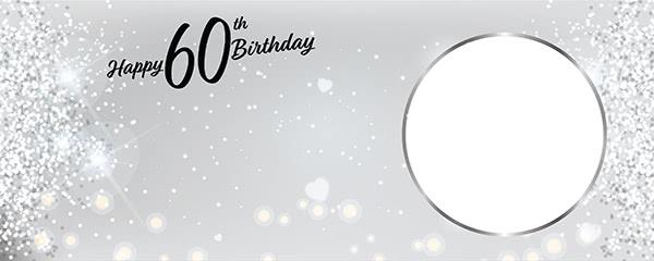 Happy 60th Birthday Milestone Light Design Small Personalised Banner - 4ft x 2ft