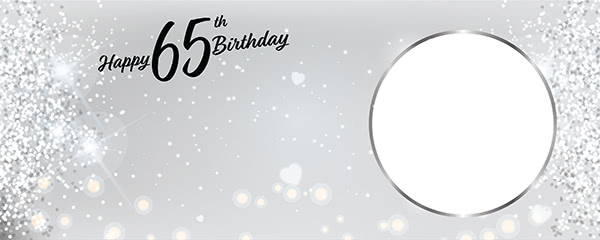 Happy 65th Birthday Milestone Light Design Small Personalised Banner - 4ft x 2ft