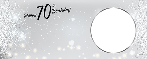 Happy 70th Birthday Milestone Light Design Small Personalised Banner - 4ft x 2ft