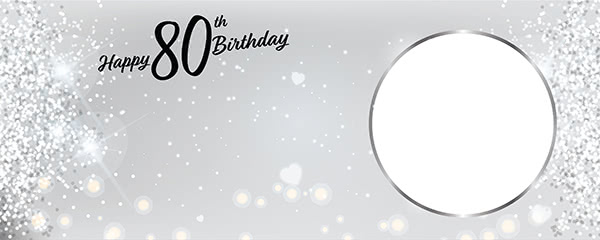 Happy 80th Birthday Milestone Light Design Small Personalised Banner - 4ft x 2ft