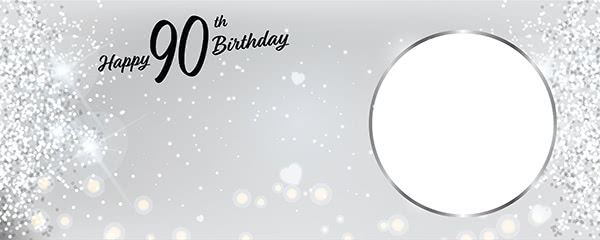Happy 90th Birthday Milestone Light Design Small Personalised Banner - 4ft x 2ft