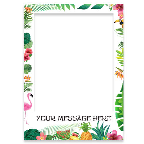 Hawaiian Floral Personalised Selfie Frame Photo Prop Product Gallery Image