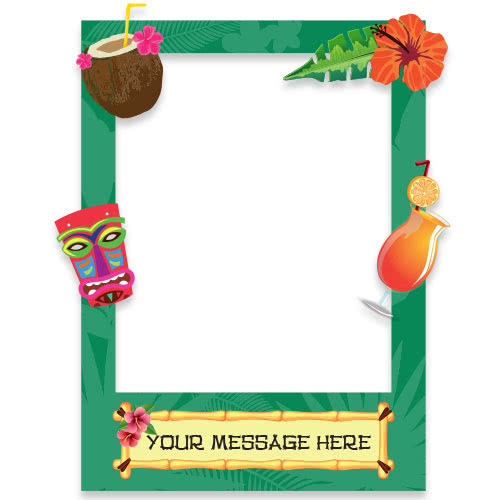 Hawaiian Tiki Style Personalised Selfie Frame Photo Prop Product Gallery Image