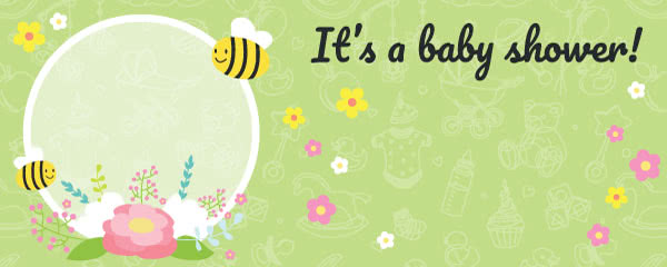 It's a Baby Shower Green Design Large Personalised Banner – 10ft x 4ft