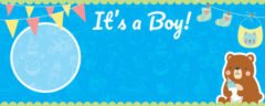 It's A Boy Baby Shower Design Medium Personalised Banner – 6ft x 2.25ft