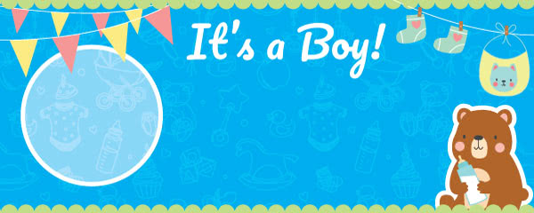 It's A Boy Baby Shower Design Medium Personalised Banner - 6ft x 2.25ft