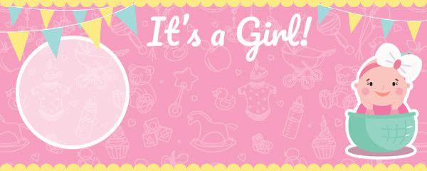 It's A Girl Baby Shower Design Medium Personalised Banner - 6ft x 2.25ft