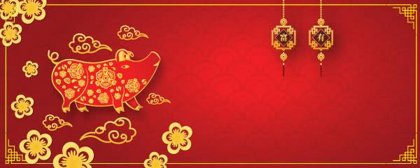 Lanterns Chinese New Year 2019 Design Medium Personalised Banner - 6ft x 2.25ft