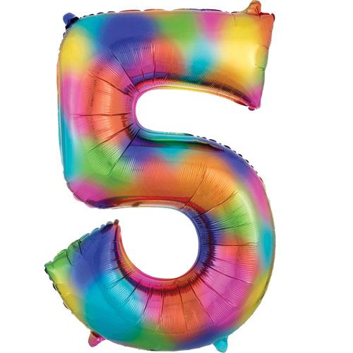Number 5 Rainbow Splash Helium Foil Giant Balloon 83cm / 33 in