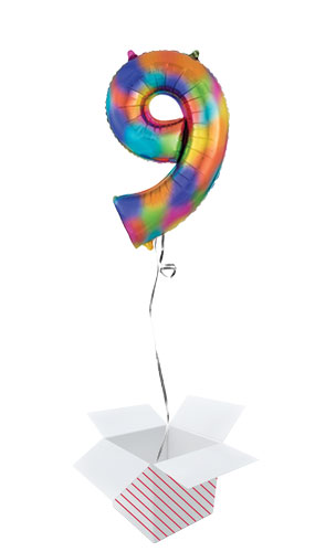 Number 9 Rainbow Splash Helium Foil Giant Balloon - Inflated Balloon in a Box
