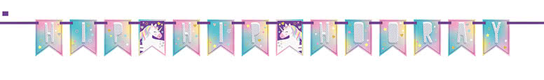 party-time-unicorn-plastic-pennant-banner-213cm-product-image