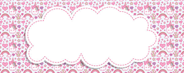 Unicorn And Hearts Kawaii Design Medium Personalised Banner - 6ft x 2.25ft